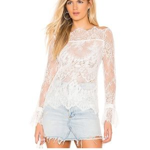 Majorelle Samantha top white lace long sleeve top
